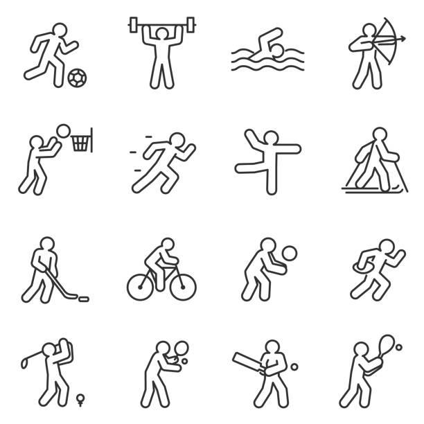 illustrations, cliparts, dessins animés et icônes de sport, jeu d'icônes. accident vasculaire cérébral modifiable - natation