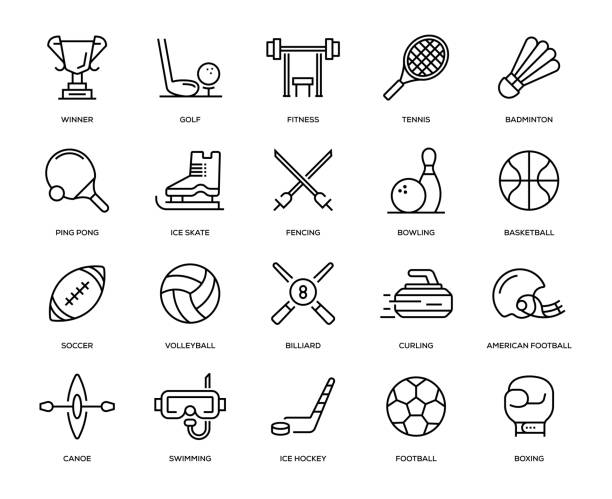 Sport Icon Set Sport Icon Set - Thin Line Series racket stock illustrations