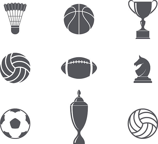sport. icon set - football stock illustrations, clip art, cartoons, & icons
