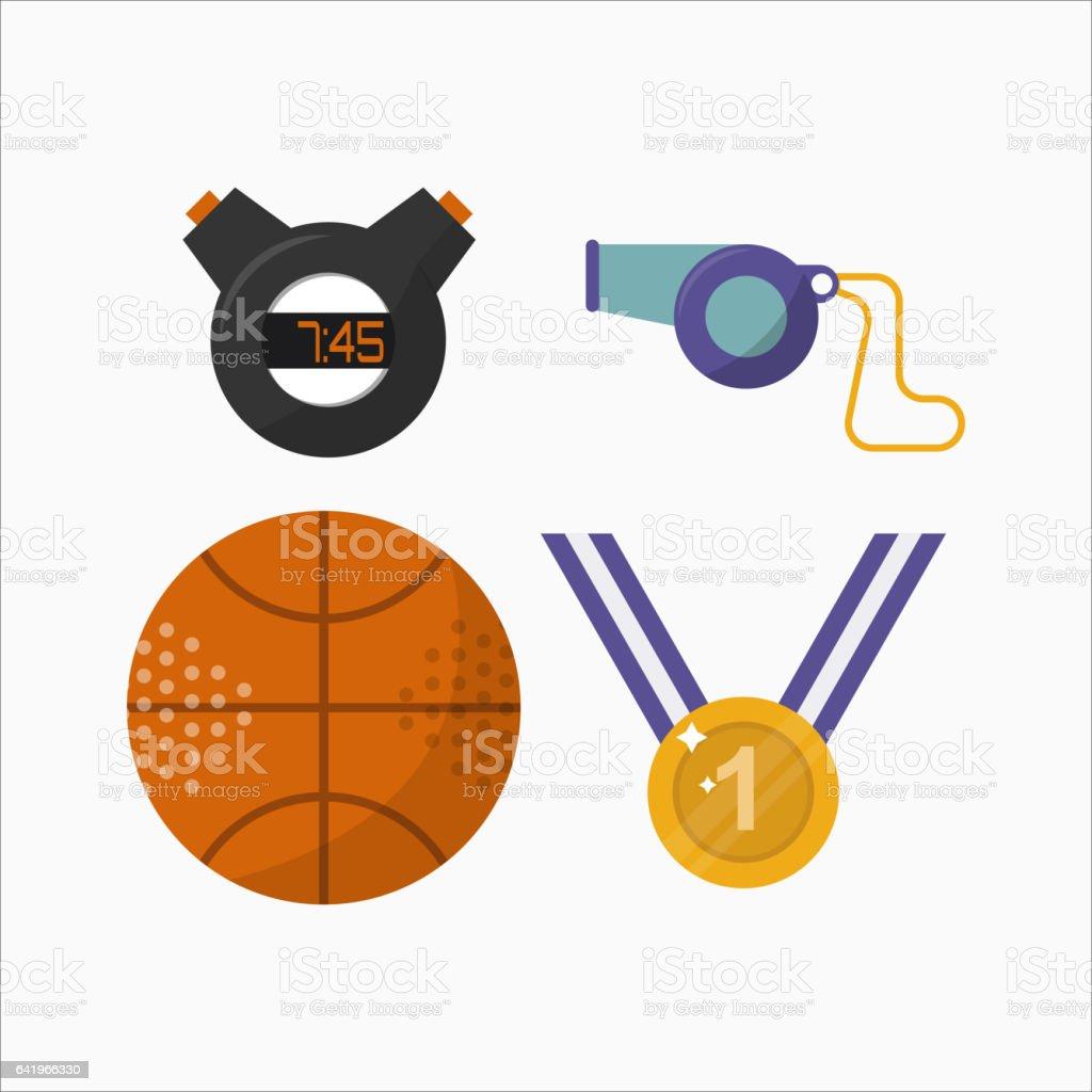 Sport icons activity leisure stopwatch timer vector illustration vector art illustration