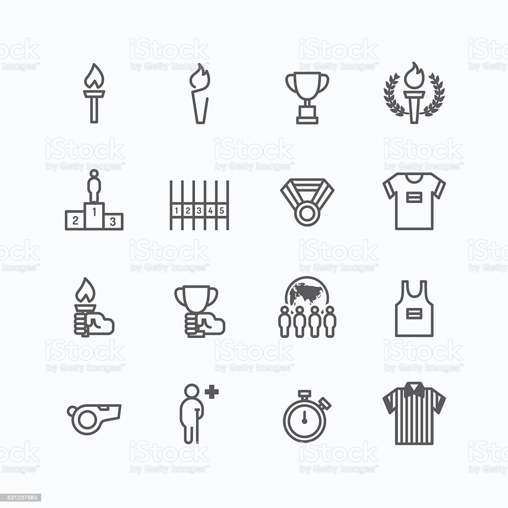 sport icons flat line design vector vector art illustration