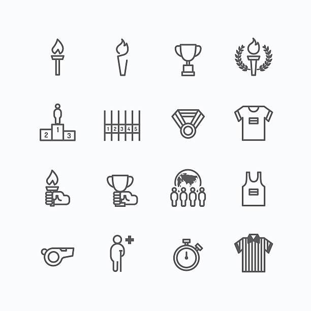 desporto design em vetor ícones de linha plana - ilustração de arte em vetor
