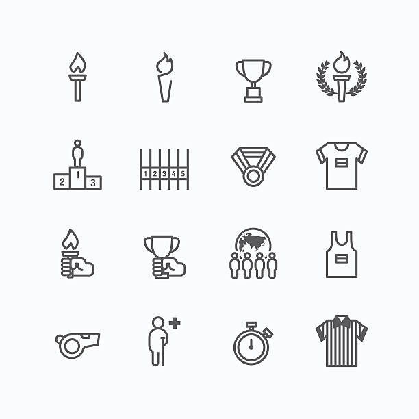 sport icons flat line design vector - 競技運動 幅插畫檔、美工圖案、卡通及圖標
