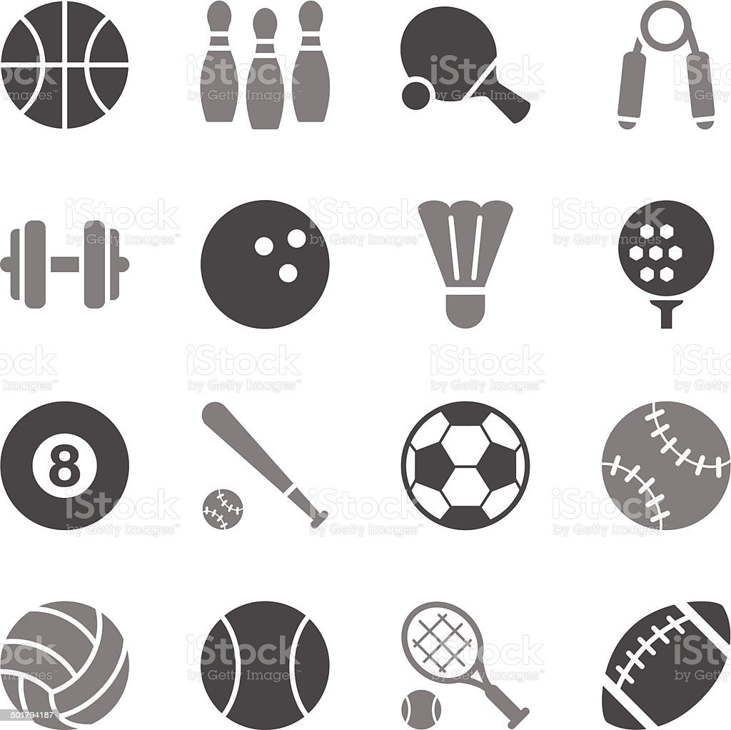 Sport Icons Gray Color vector art illustration