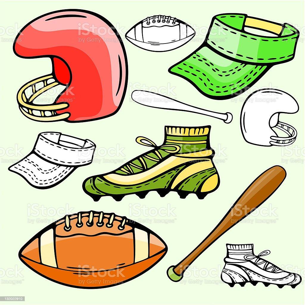 Sport Icons II: Baseball & Football (Vector) royalty-free stock vector art