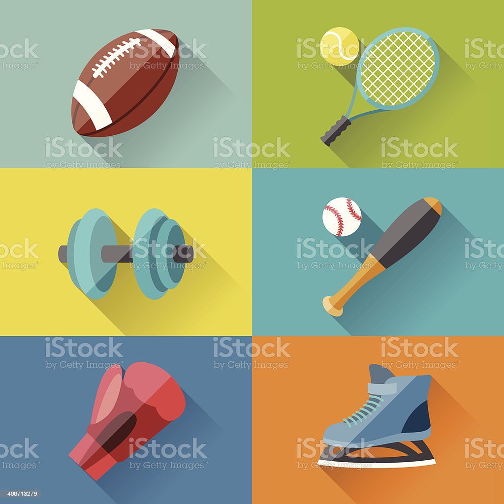 Sport icons in flat design style. vector art illustration