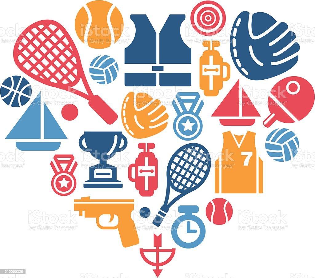 16d2472a3 Em forma de coração com ícones do esporte vetor de em forma de coração com  ícones