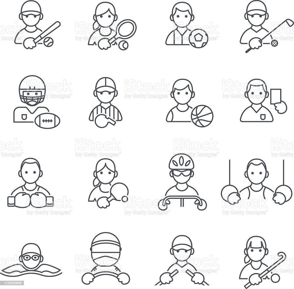 Esporte ícones na fina linha. - ilustração de arte em vetor