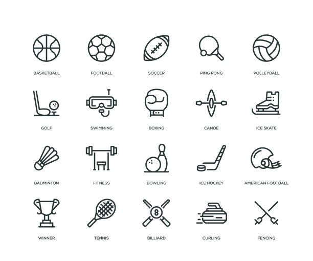 ilustraciones, imágenes clip art, dibujos animados e iconos de stock de iconos - línea serie del deporte - boxeo deporte