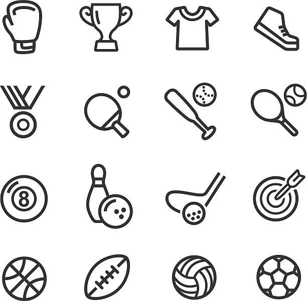 ilustraciones, imágenes clip art, dibujos animados e iconos de stock de deportes iconos de línea serie - boxeo deporte