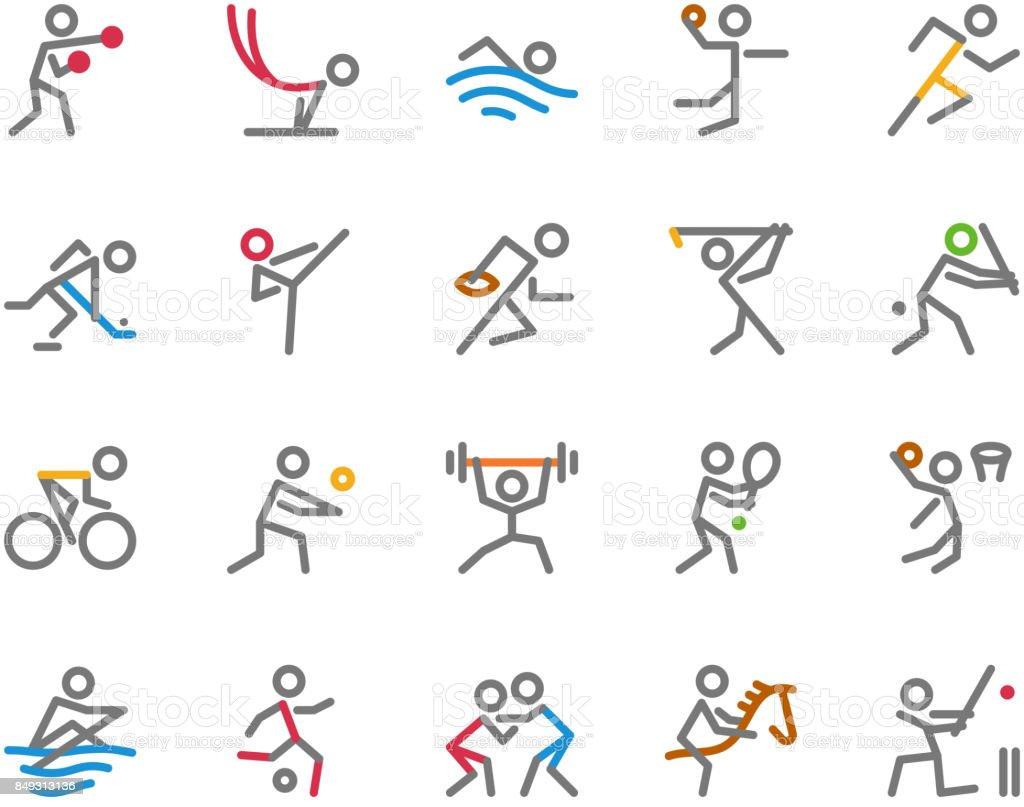Sport Icons, Monoline, conceito de figura humana - ilustração de arte em vetor