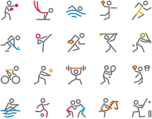ilustraciones, imágenes clip art, dibujos animados e iconos de stock de iconos, monoline, concepto de figura humana del deporte - deportes de remo
