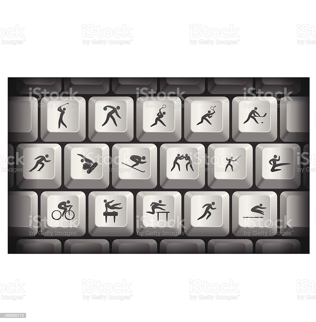 Sport Icons on Gray Computer Keyboard Buttons royalty-free stock vector art
