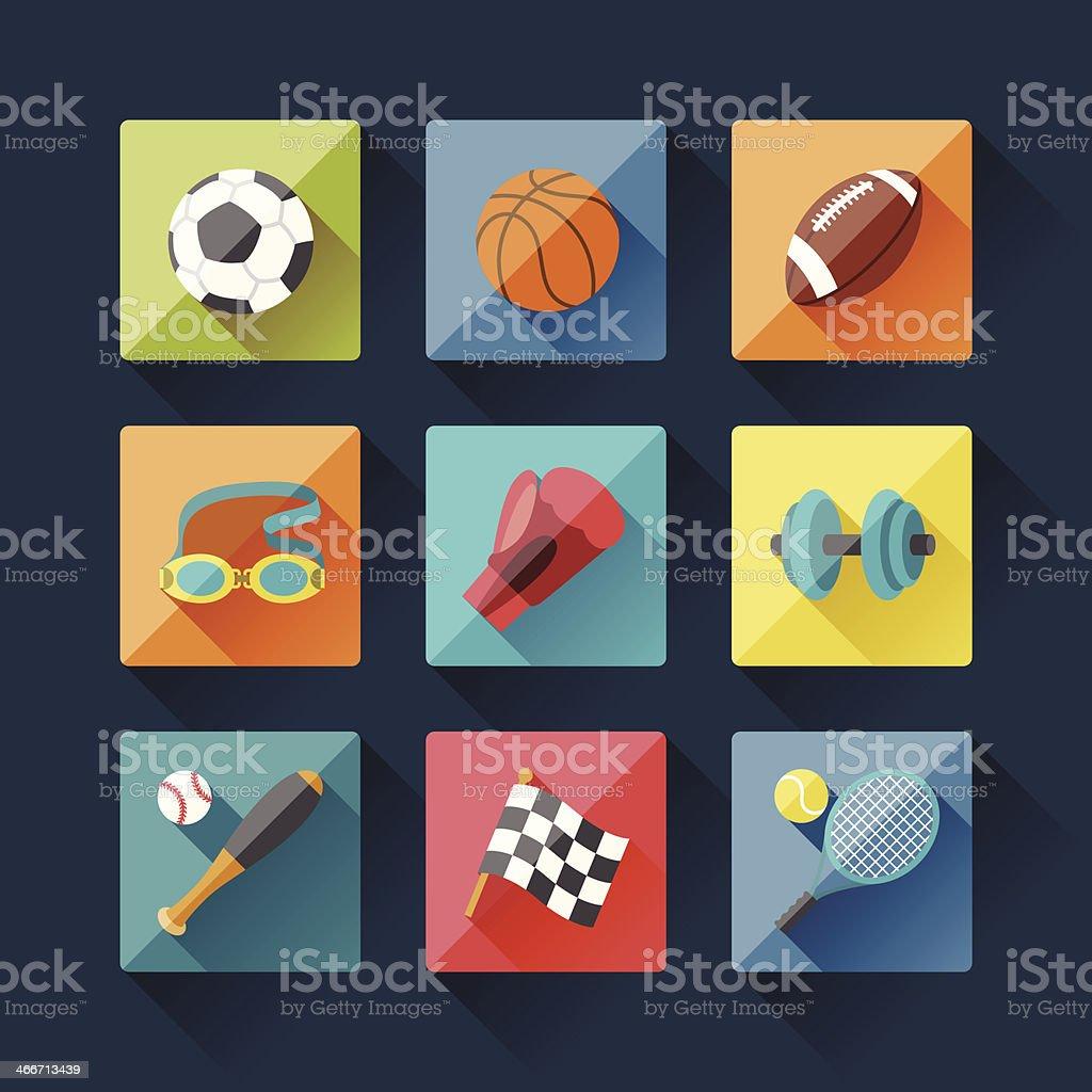 Sport icons set in flat design style. vector art illustration
