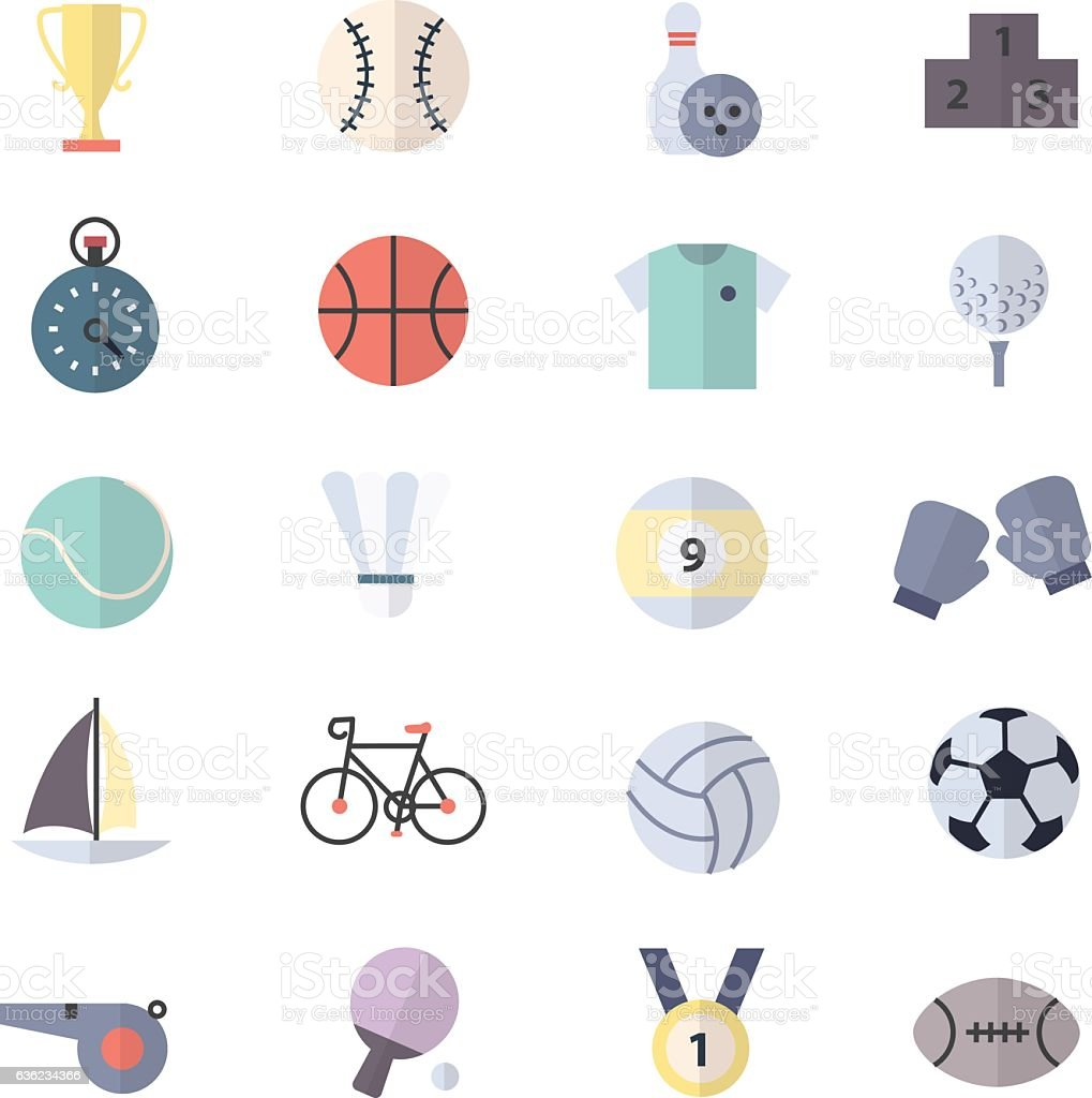 Sport Icons Set Of Vector Illustration Style Colorful Flat vector art illustration