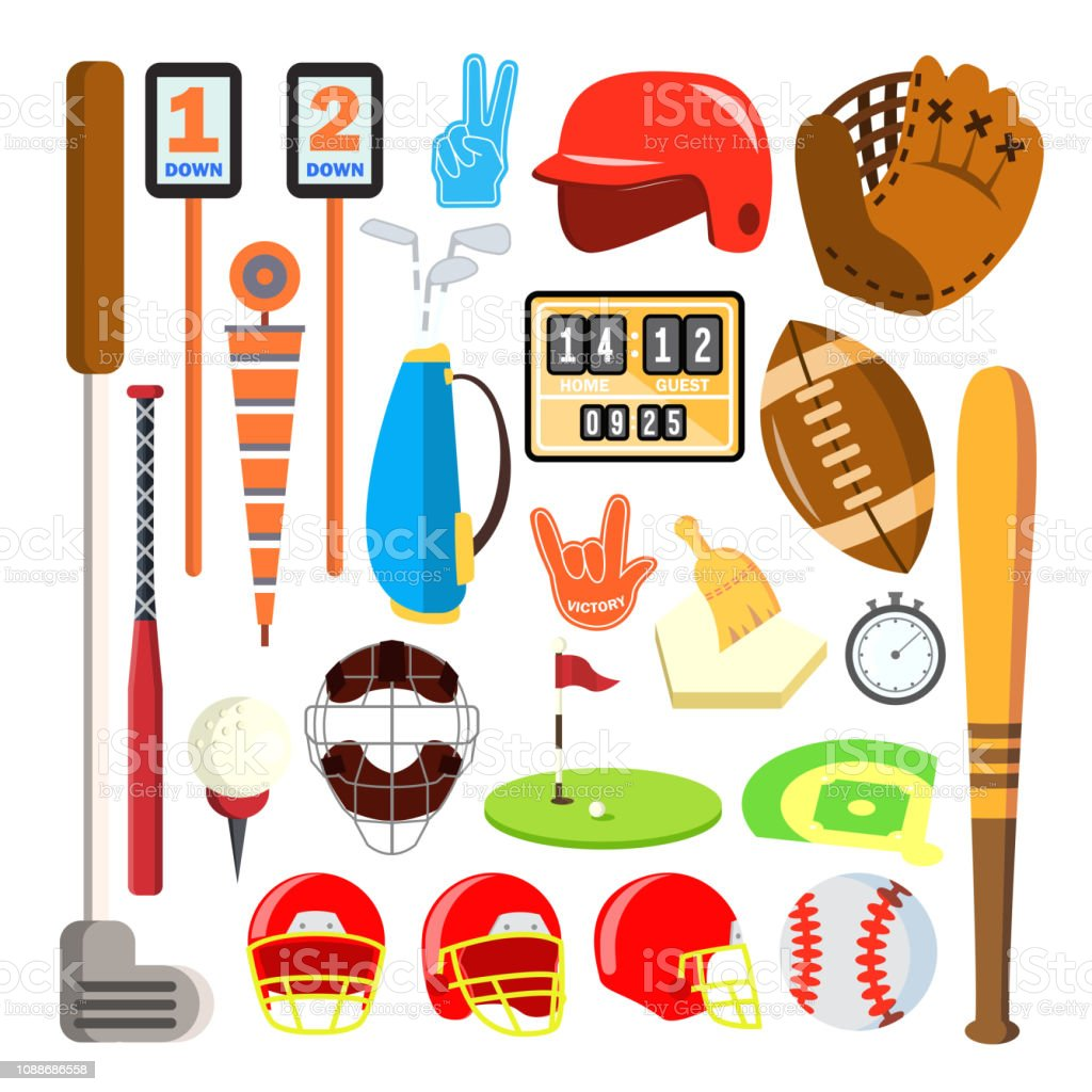 Sport Icons Vector. Baseball, Golf, American Football Isolated...