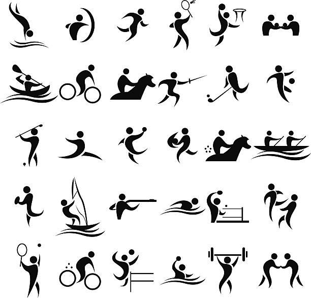 ilustraciones, imágenes clip art, dibujos animados e iconos de stock de iconos de deporte - deportes de remo