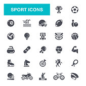 Sport, American Football - Sport, Boxing - Sport, Bicycle, Soccer Ball, Icon Set