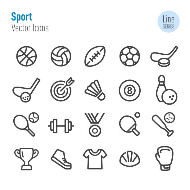 Sport Icons - Vector Line Series Sport, Fitness, exercising, Aerobics, match, ball game racket stock illustrations