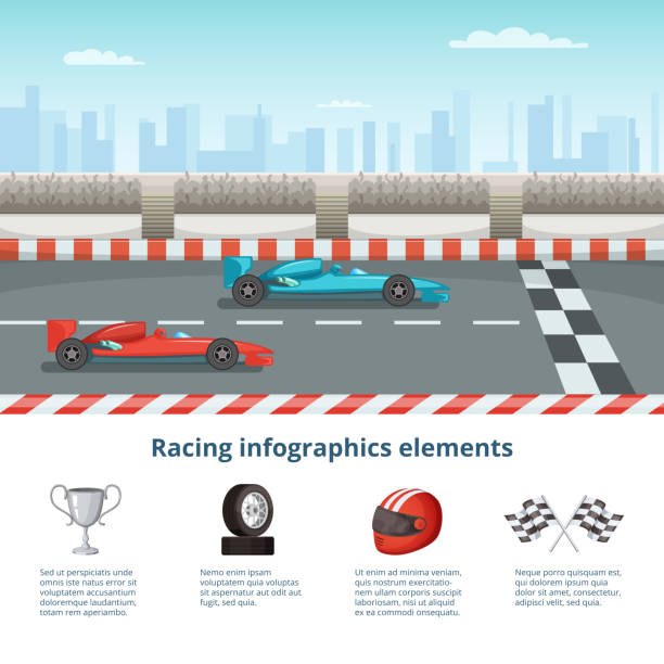 sport infographic with race cars of formula 1. different cars and driver tools - formula 1 stock illustrations