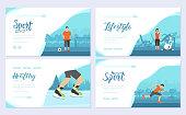 Sport information brochure card set. Extreme on nature template of flyer, web banner, ui header, enter site. Layout modern