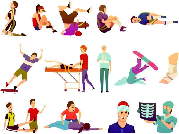 ilustraciones, imágenes clip art, dibujos animados e iconos de stock de sport lesión iconos planos de colores - medicina del deporte
