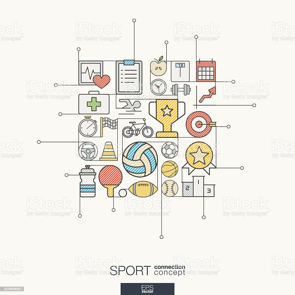 Sport integrated thin line symbols. Modern color vector concept vector art illustration
