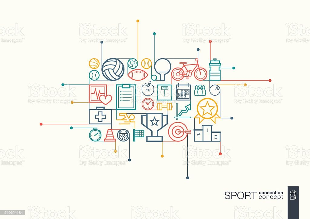 Sport integrated thin line symbols vector art illustration
