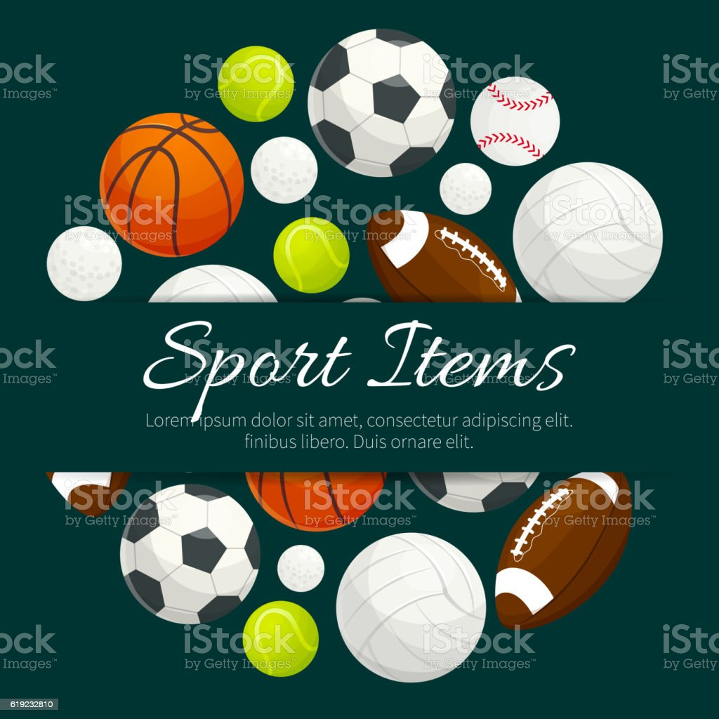 Sport items and balls vector label emblem vector art illustration