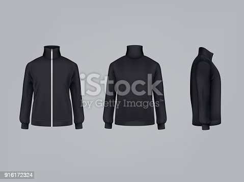 Sport jacket or long sleeve sweatshirt vector illustration 3D mockup model of sportswear apparel icon