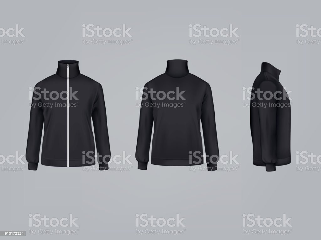 Sport jacket or long sleeve sweatshirt vector illustration 3D mockup model of sportswear apparel icon vector art illustration