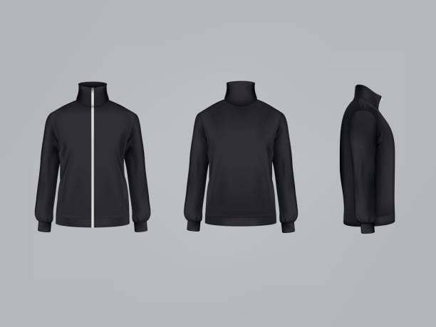 illustrazioni stock, clip art, cartoni animati e icone di tendenza di giacca sportiva o felpa a manica lunga illustrazione vettoriale modello di mockup 3d di abbigliamento sportivo - giacca
