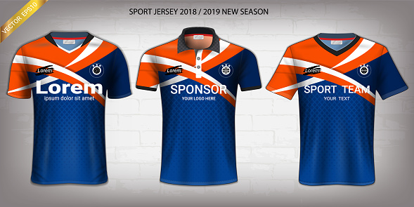 Sport Jersey, T-Shirt Design Mockup Template, Front View for Your Custom Made Uniforms such as Soccer, Football, Volleyball, Tennis, Badminton, Table Tennis, Rugby, etc, Vector EPS10 Fully Customized.