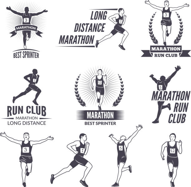 Sport labels at marathon theme for sport teams. Illustrations of athlete isolated vector art illustration