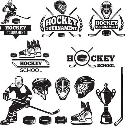 Sport labels for hockey team. Vector badges set