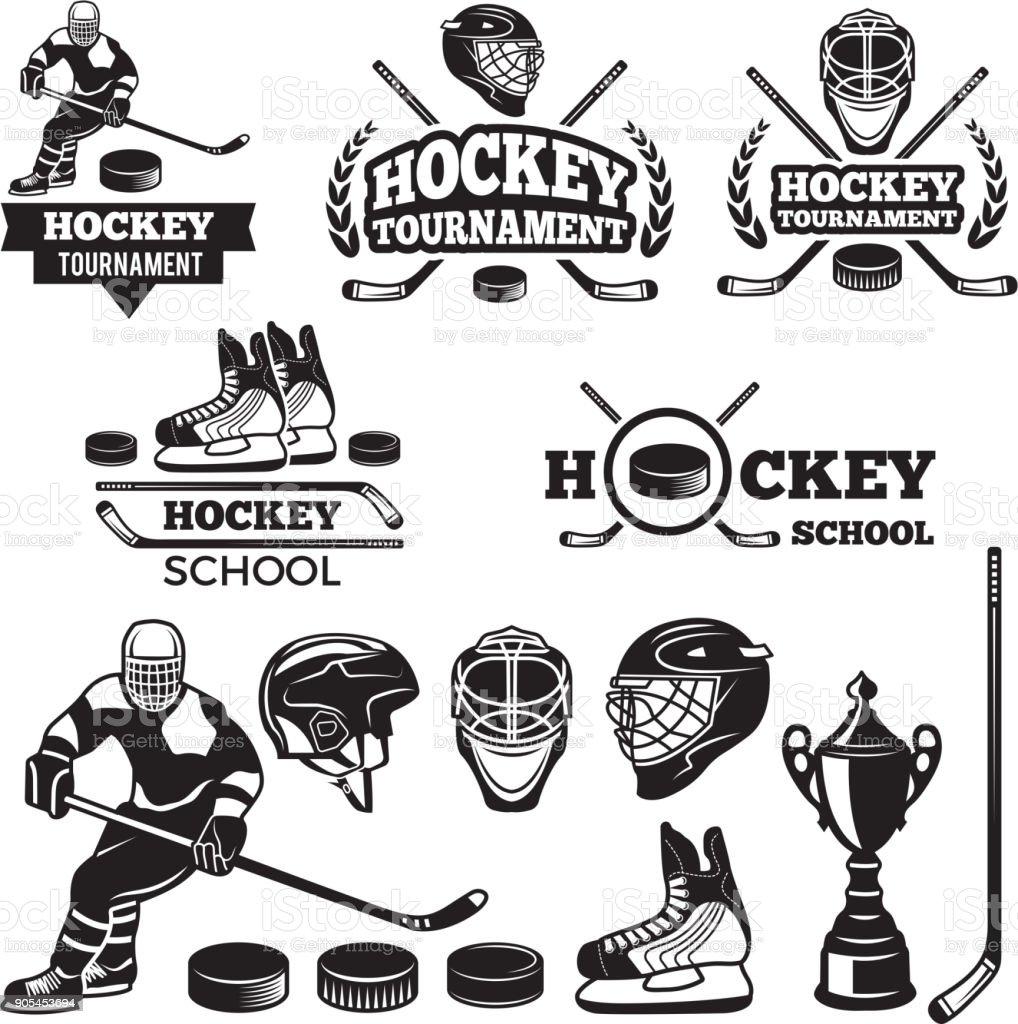 Sport labels for hockey team. Vector badges set vector art illustration