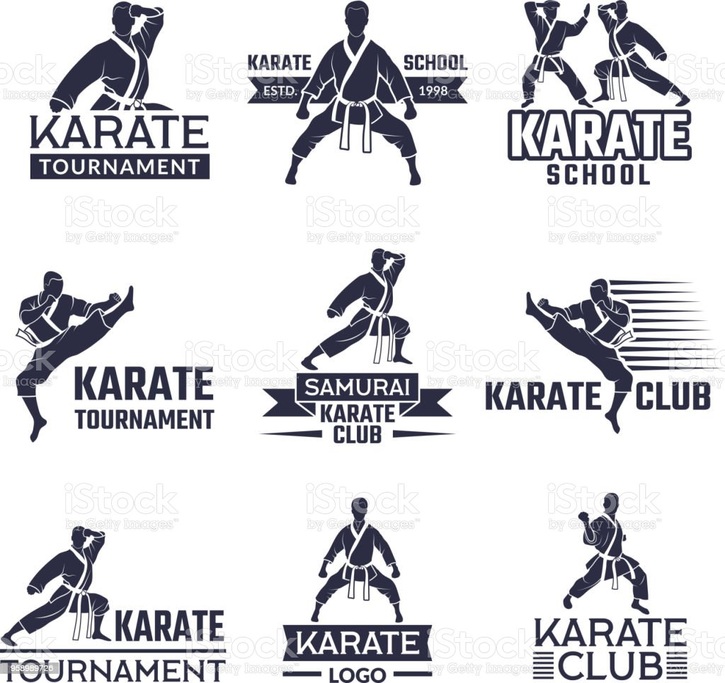 Sport labels set for fighting club. Karate and martial arts vector art illustration