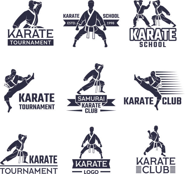 sport labels set for fighting club. karate and martial arts - martial arts stock illustrations