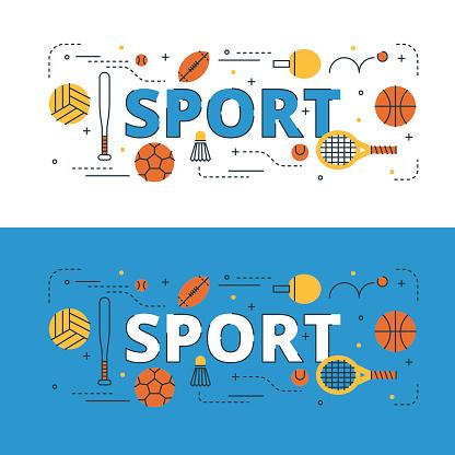 Sport lettering flat line design