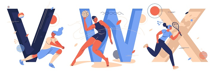 Sport letters with women characters training and running. V for volleyball, W for water polo and x for xare game. Educational collection with female characters