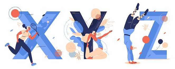 Sport letters X for xare game, Y for yoga, Z for zui quan. Women training, running and doing salto. Vector concept illustration collection.