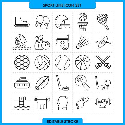 Sport Line Icon Set. Editable Stroke