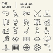 Sport line icon set. Fitness symbols collection or sketches. Health care signs for web and mobile concept, linear style pictogram style package isolated on beige background. Vector graphics