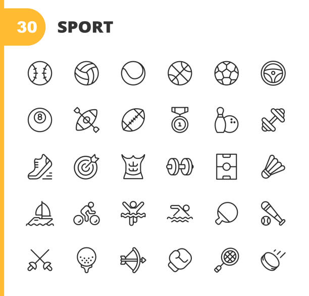 stockillustraties, clipart, cartoons en iconen met sport lijn iconen. bewerkbare slag. pixel perfect. voor mobiel en web. bevat iconen zoals honkbal, volleybal, tennis, basketbal, voetbal, medaille, hardloopschoenen, spieren, fiets, ricing, pool, golf, bowling, gym, surfen, doos, boogschieten, zwemmen. - sport
