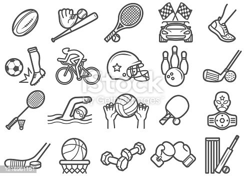 Various Sports Icons/Clip Arts vector illustration for various uses Easy resize. All objects is layered. Vector EPS file and image jpeg full HD.