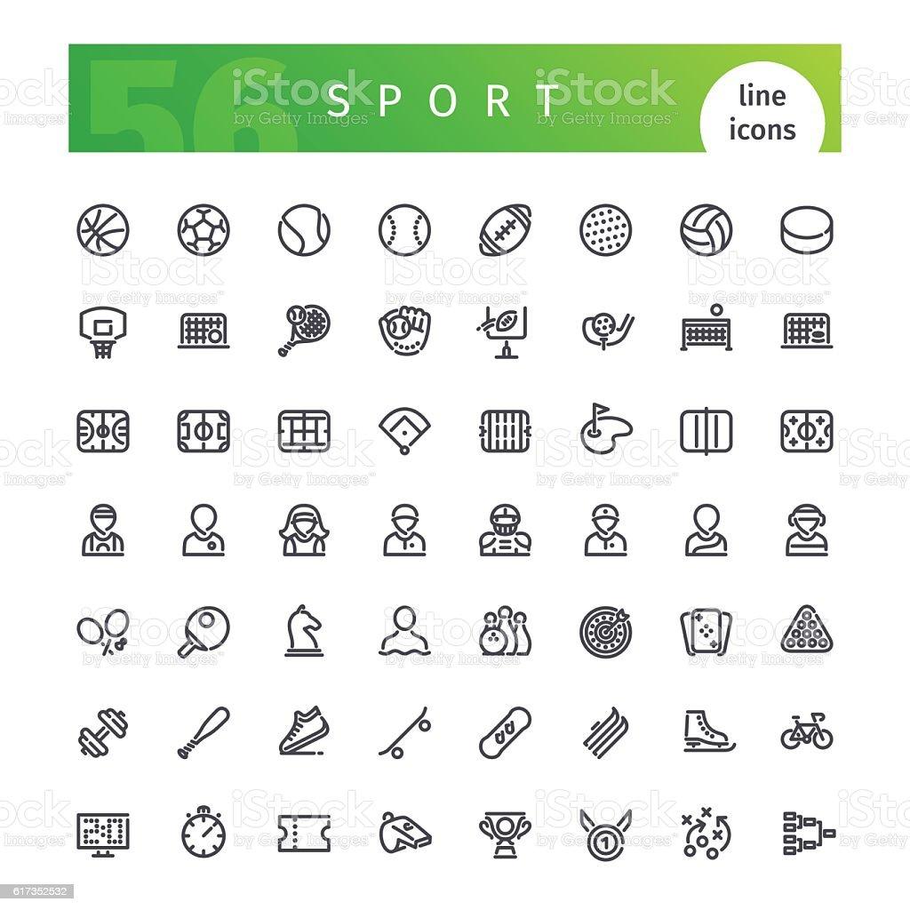 Sport Line Icons Set vector art illustration