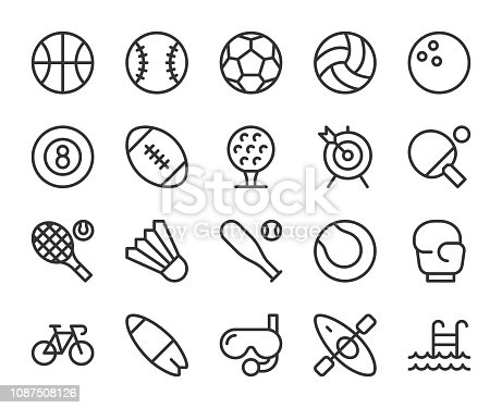 Sport Line Icons Vector EPS File.