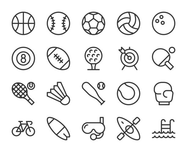 stockillustraties, clipart, cartoons en iconen met sport - line pictogrammen - bal