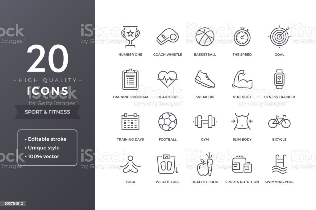 Sport Line Icons royalty-free sport line icons stock illustration - download image now