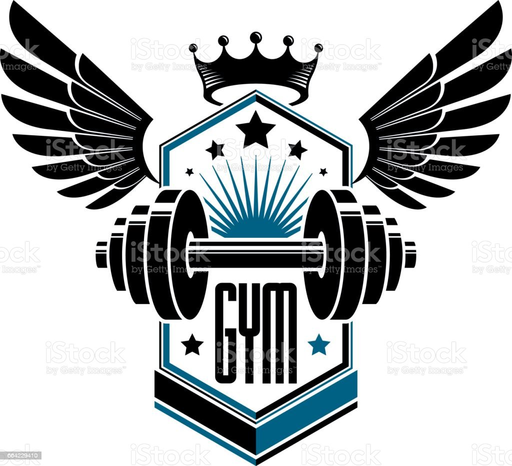 Gym Equipment Logo: Sport Logo For Weightlifting Gym And Fitness Club Vintage